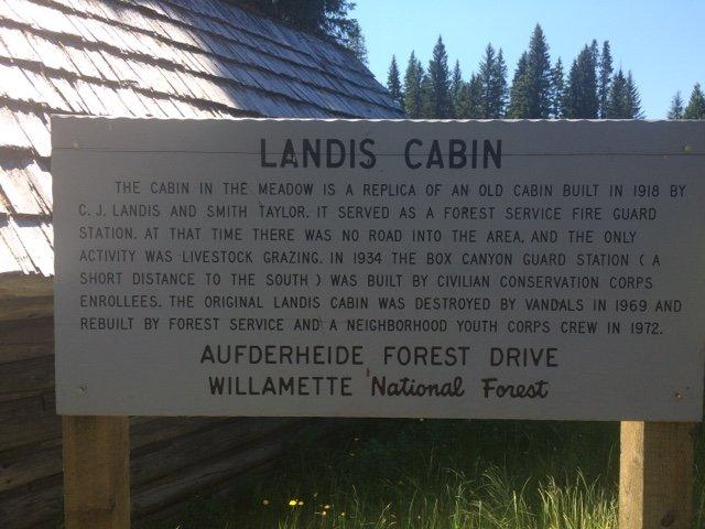 Landis Cabin on Aufderheide Drive