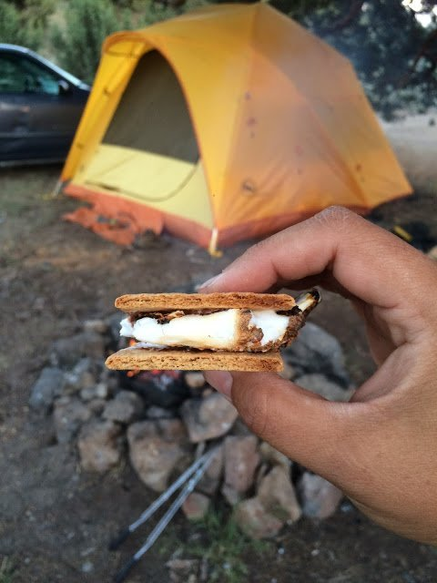 Smores while camping at Glass Buttes, Oregon