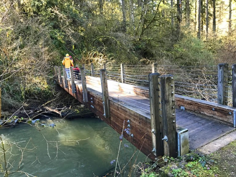 Bridge across Long Tom River - hiking with kids at Alderwood Wayside - Oregon State Park